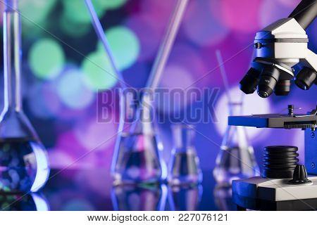 Science Laboratory. Laboratory Glassware, Microscope, Test Tubes. Research And Development. Bokeh Ba