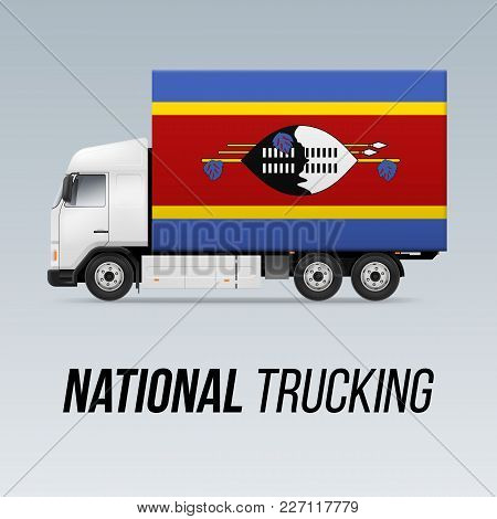 Symbol of National Delivery Truck with Flag of Swaziland. National Trucking Icon and Swazi flag stock photo