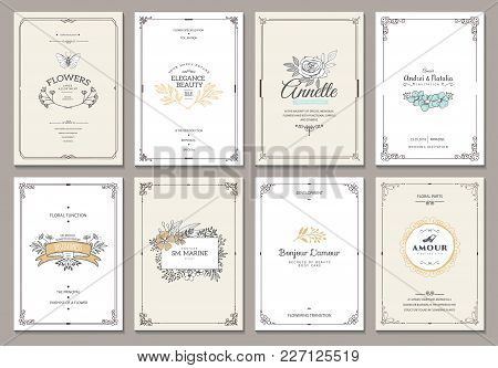 Vintage Creative Cards Template With Beautiful Flourishes Ornament Elements. Elegant Design For Corp