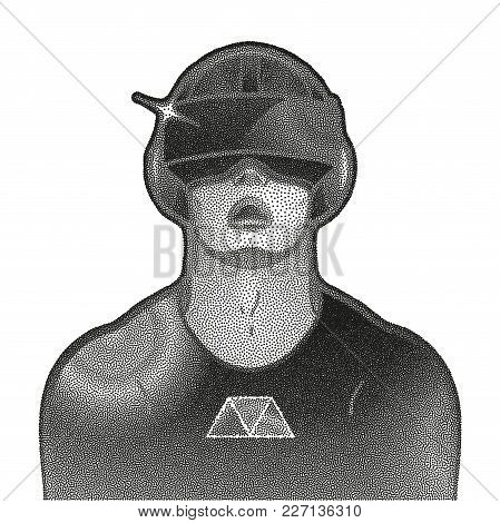Graphic man with open mouth wearing virtual reality headset drawn in stippling technique. VR glasses. Modern cyber technologies for gaming. stock photo