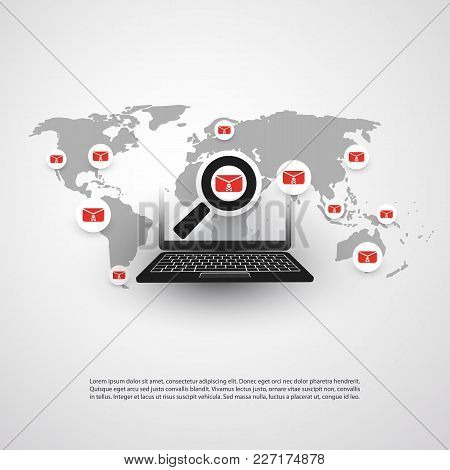 Security Audit, Virus Scanning, Cleaning, Eliminating Malware, Ransomware, Fraud, Spam, Phishing, Email Scam, Hacker Attack Effects and Damage - IT Security Concept Design, Vector illustration stock photo