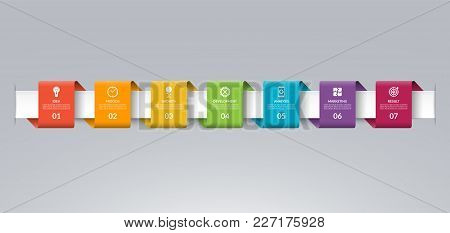 Infographic timeline template in the form of colored paper tapes. Vector banner with 7 options, steps, parts. Can be used for for web, workflow layout, time line, diagram, chart, graph stock photo