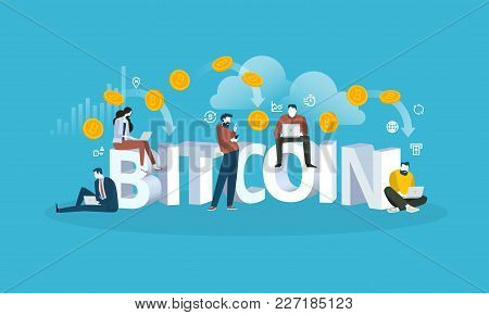 Bitcoin cloud mining. Flat design style web banner of blockchain technology, bitcoin, altcoins, cryptocurrency mining, finance, digital money market, cryptocoin wallet, crypto exchange. stock photo