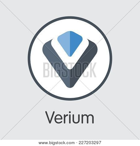 Verium - Blockchain Cryptocurrency Colored Logo. Vector Illustration of Cryptocurrency Icon on Grey Background. Vector Symbol: VRM. stock photo