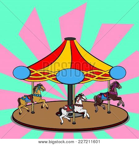 Full-color vector illustration of a carousel with three photorealistic horses. Bright colorful clipart of the round swirling attraction  with name plate for children's entertainment park stock photo