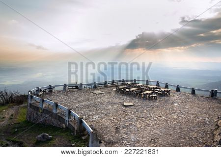 Romantic sunset from outlook view with tables and benches, Liberec, Czech Republic stock photo