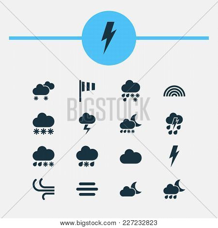 Climate icons set with snow, thundershower, sleet and other thunderstorm elements. Isolated vector illustration climate icons. stock photo