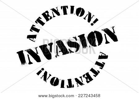 Invasion typographic stamp. Typographic sign, badge or logo stock photo