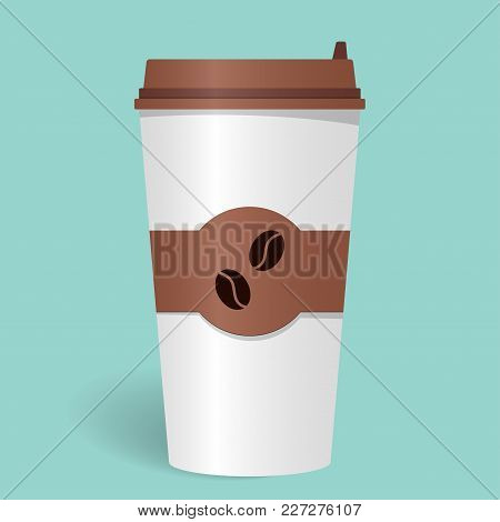 Realistic paper coffee Cup with lid and emblem with coffee beans. Take-away coffee. Coffee to go. Vector illustration stock photo