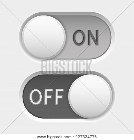 On and Off icons. Toggle switch interface buttons. Gray elements. Vector 3d illustration stock photo