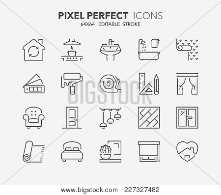 Thin line icons set of decoration and interior design. Outline symbol collection. Editable vector stroke. 64x64 Pixel Perfect. stock photo