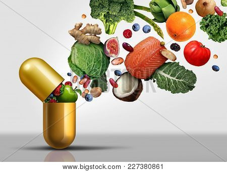 Vitamins Supplements As A Capsule With Fruit Vegetables Nuts And Beans Inside A Nutrient Pill As A N
