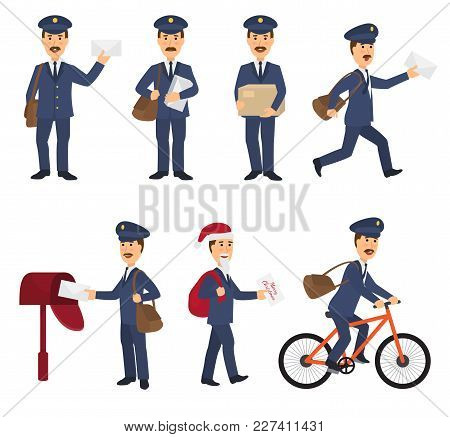 Postman vector mailman delivers mails in postbox or mailbox and post character carries mailed letters in letterbox illustration set postal delivery service isolated on white background, stock photo