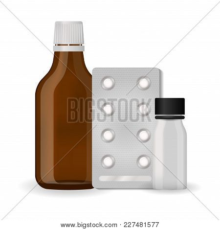 Bottle pack template mockup blank pharmaceutical blister of pills and capsules tube container for drugs clean plastic packaging for medication vector illustration. Set realistic package design. stock photo