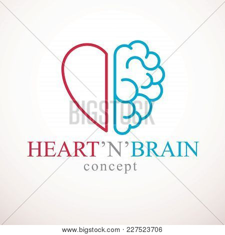 Heart and Brain concept, conflict between emotions and rational thinking, teamwork and balance between soul and intelligence. Vector logo or icon design. stock photo