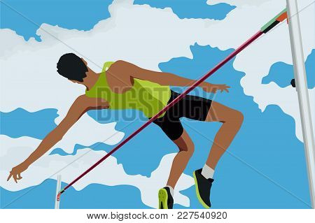 athlete jumping high jump in background of blue sky and clouds stock photo