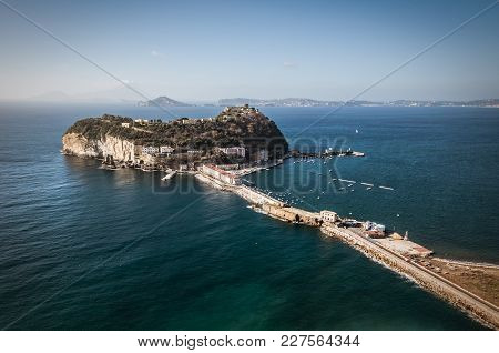 View of the island of Nisida in Campania from the Virgiliano park stock photo
