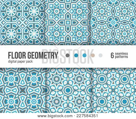 Digital paper pack, set of 6 abstract seamless patterns. Abstract geometric blue backgrounds. Vector illustration. Portuguese floor tiles design, tuquoise teal blue colors. stock photo