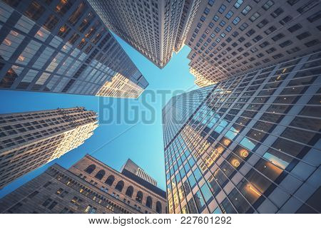 Office building top view background in retro style colors. Manhattan buildings of New York City cent
