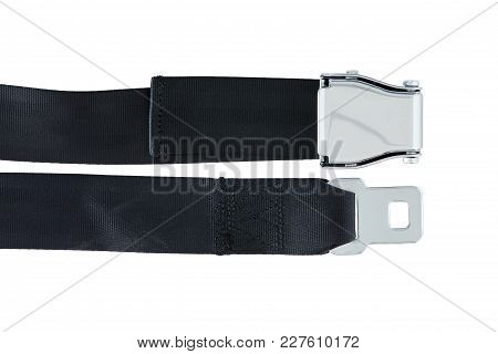 Male and Female side of Airplane Safety Seat Belts next to each other isolated on white background stock photo