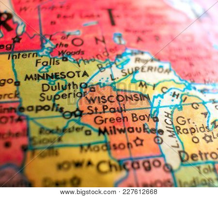Milwaukee Wisconsin Usa Isolated Focus Macro Shot On Globe Map