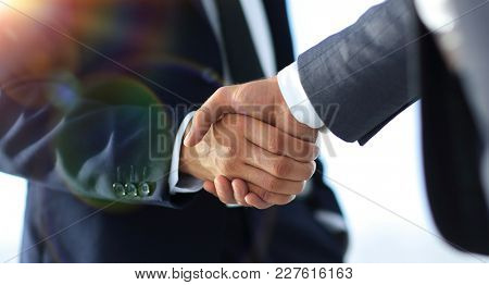 Business men giving a handshake. Business concept stock photo