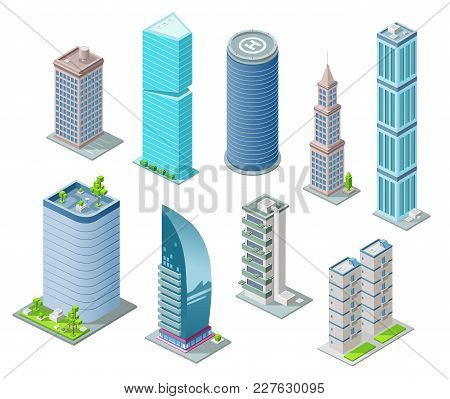 Isometric 3D buildings and city skyscrapers vector illustration for architecture construction design. Residential building, office or hotel residence towers with helicopter heliport on rooftop stock photo