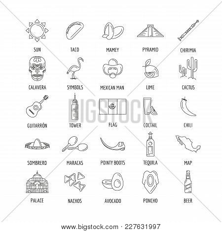 Mexico culture and traditions outline icons set. Mexico objects vector illustration isolated on white background. Elements of Mexico architecture and religion. stock photo