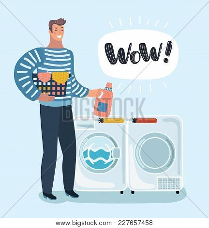 Vector cartoon illustration of young character holding a laundry basket. Washer and dryer. Laundromat. Detergent. Daily chores concept. Male character on isolated background. stock photo