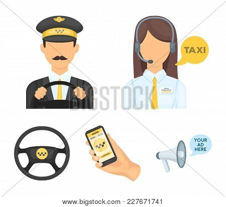 A taxi driver with a microphone, a taxi driver at the wheel, a cell phone with a number, a car steering wheel. Taxi set collection icons in cartoon style vector symbol stock illustration . stock photo