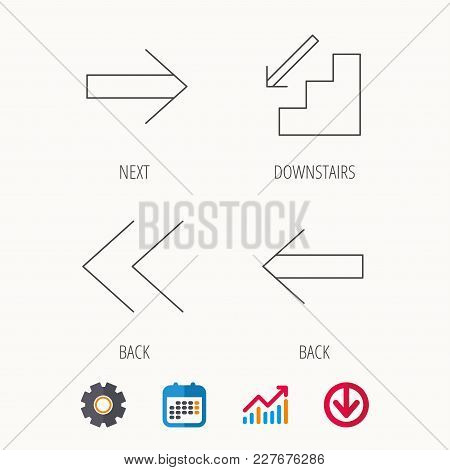 Arrows icons. Downstairs, next and back linear signs. Next, back arrows flat line icons. Calendar, Graph chart and Cogwheel signs. Download colored web icon. Vector stock photo