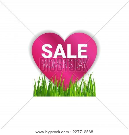 Sale Womens Day Bagde Discount Sticker Template Special Offer Sign Isolated Vector Illustration stock photo