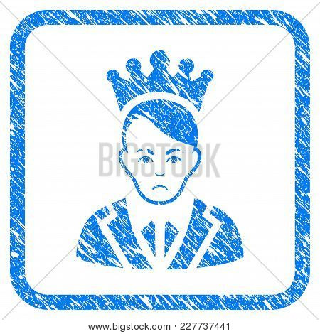 Prince rubber seal stamp watermark. Icon vector symbol with grunge design and corrosion texture inside rounded rectangle. Scratched blue emblem on a white background. stock photo