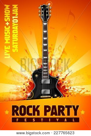vector illustrtion orange rock party festival flyer design template with black guitar and cool splash effects in the background stock photo