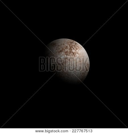 Moon watercolor isolated on black sky background. Moon phase Waxing Gibbous. Watercolour hand drawn earth satellite moon magic night art work illustration. Abstract planet stock photo