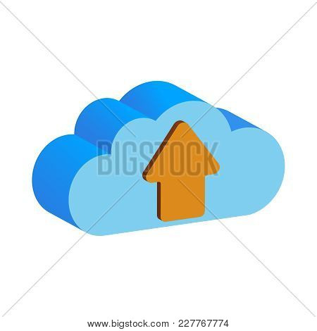 Cloud vector folder. A cloud backup data folder in flat vector icon. A blue cloud and yellow folder, isolated on a white background. Vector illustration. stock photo
