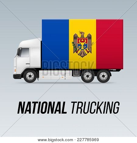 Symbol of National Delivery Truck with Flag of Moldova. National Trucking Icon and Moldovan flag stock photo