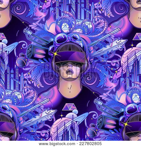Graphic man with open mouth wearing virtual reality headset with fantastic cyber world on the background. VR glasses. Modern technologies for gaming. Vector seamless pattern stock photo