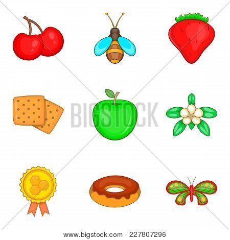 Honey yield icons set. Cartoon set of 9 honey yield vector icons for web isolated on white background stock photo