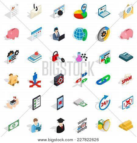 Amount of money icons set. Isometric set of 36 amount of money vector icons for web isolated on white background stock photo