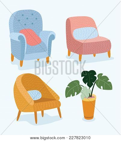 Vector cartoon funny illustration of set of hand drawn stylish furniture with wooden legs and the pot of a potted plant, Monstera stock photo