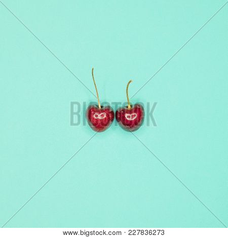 top view of Cherry on bule back ground stock photo