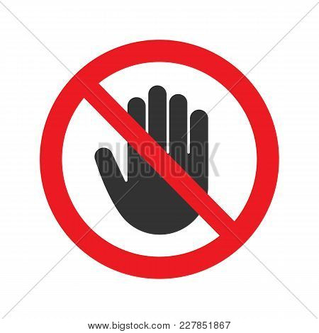 Forbidden sign with stop hand glyph icon. No entry prohibition. Do not touch. Silhouette symbol. Negative space. Vector isolated illustration stock photo