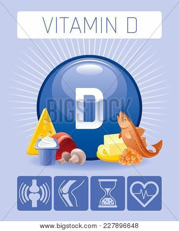 Cholecalciferol Vitamin D food icons. Healthy eating flat icon set, text letter, isolated background. Diet Infographics diagram banner, caviar, liver. Table vector illustration, body health supplement stock photo