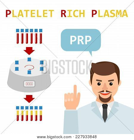 Platelet rich plasma. Male doctor explains the generation modern method of treatment of PRP. Test tube with blood and centrifuge. Vector  flat illustration. stock photo
