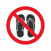 Forbidden Sign With Slippers Glyph Icon No Sandals S Or Open Toed Footwear