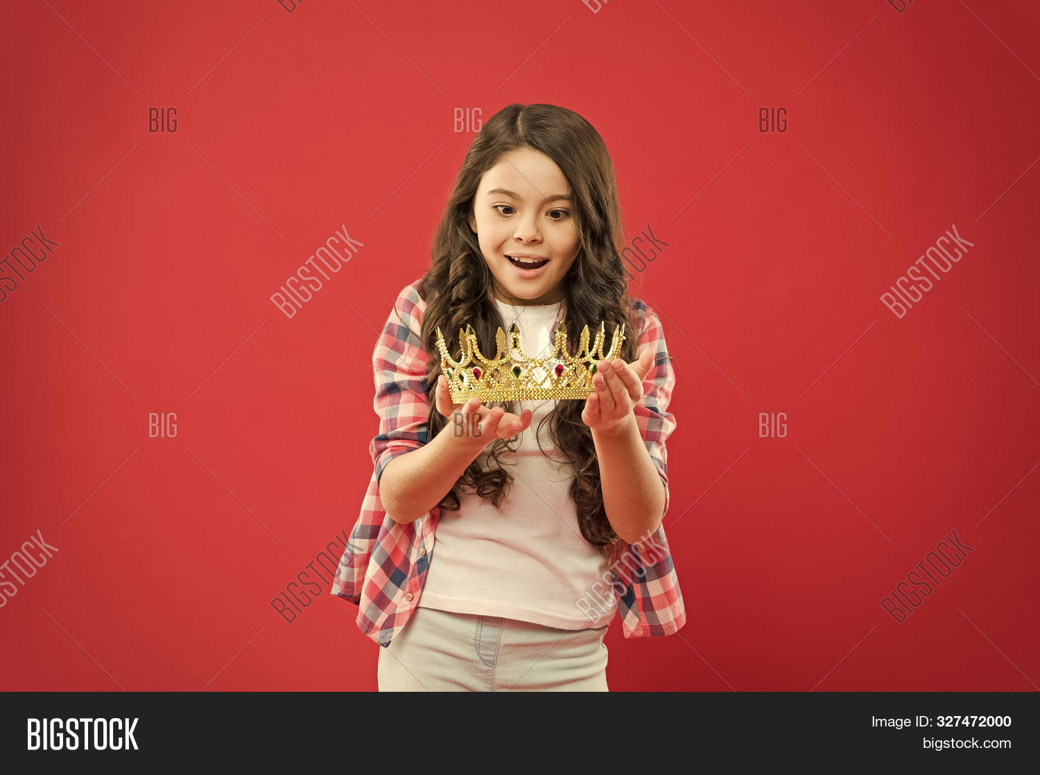 Luxury And Elegance. Small Child Holding Luxury Crown Jewel On Red Background. Successful Little Gil
