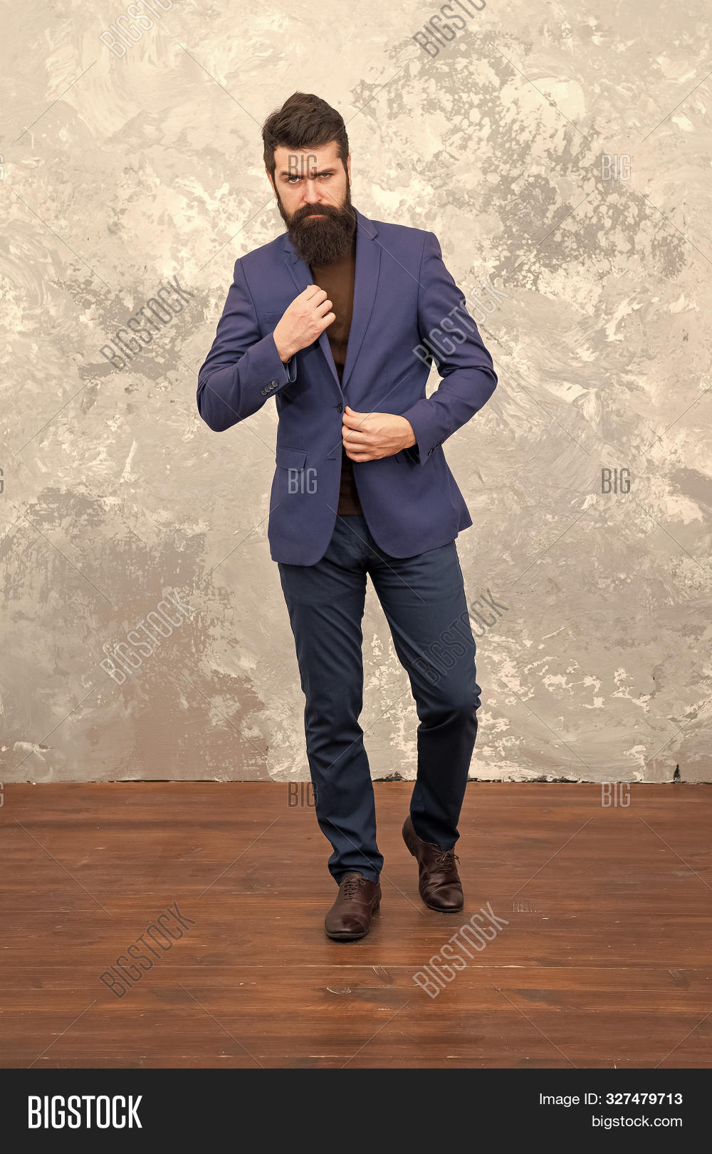 Man Handsome Bearded Businessman Wear Luxury Formal Suit. Menswear And Fashion Concept. Guy Brutal F