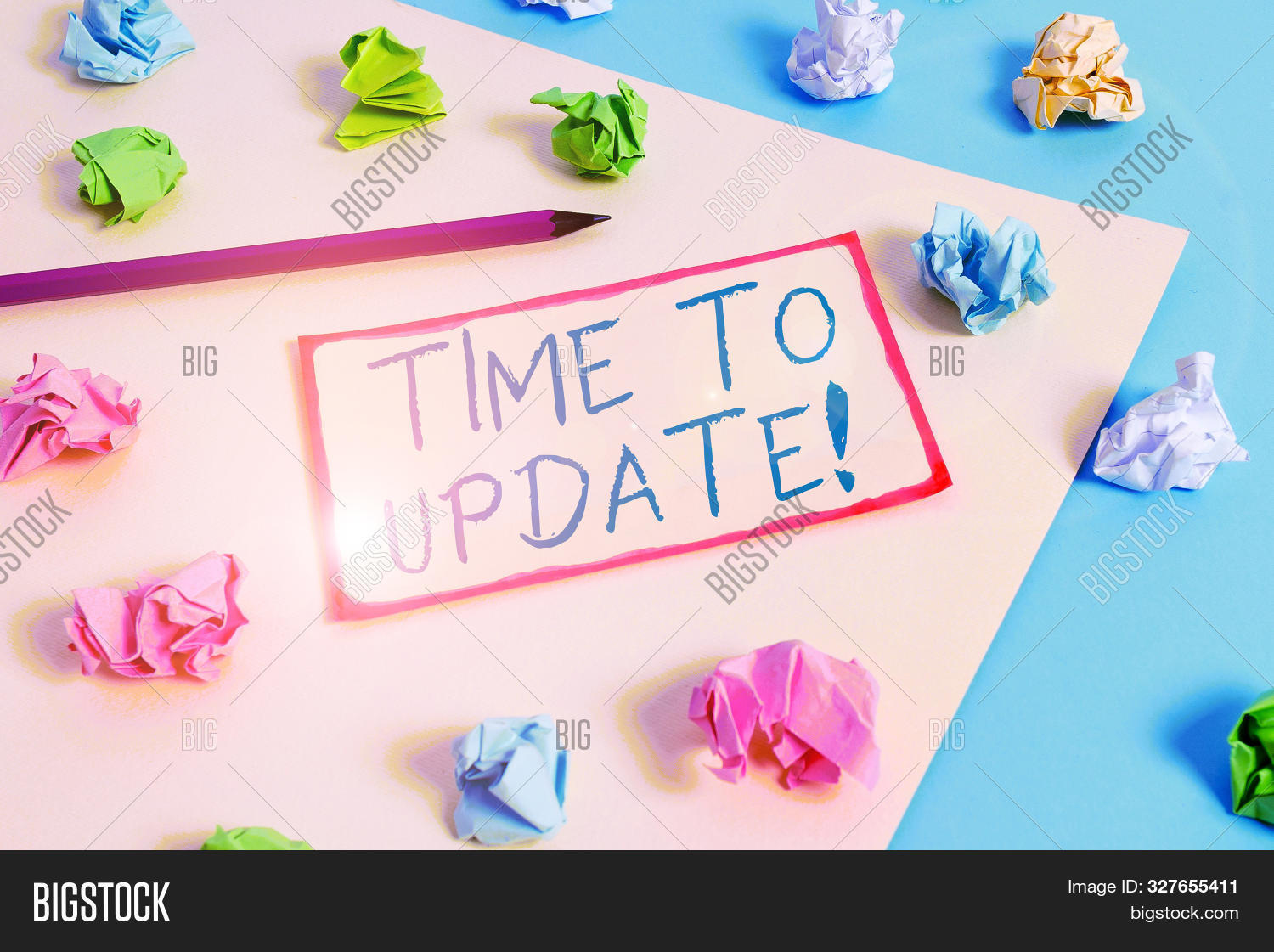 Writing note showing Time To Update. Business photo showcasing act updating something someone or updated version program Colored crumpled papers empty reminder blue yellow clothespin.