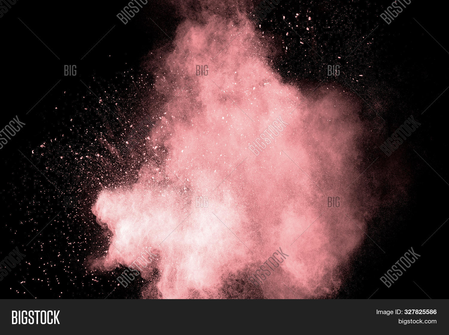 Abstract pink powder explosion on black background. Freeze motion of light pink dust splashing.
